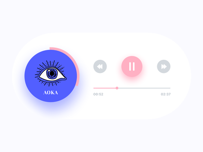 Visual Branding |  Player music app ui previous button next player timeline play pause illustration eye song singer music album single music