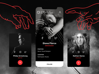 Ambassador | Profile cards rock and roll logo hand social ultimate guitar mentor specialist ambassador profile card account add follow profile user card icon graphic design ui music