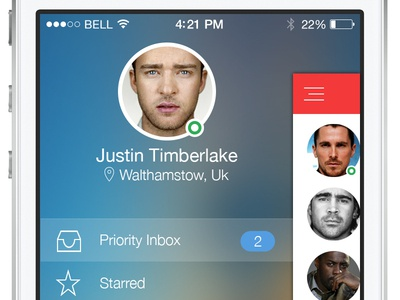 Mail for ios 7  inbox mobile ui flat ui ios 7 red
