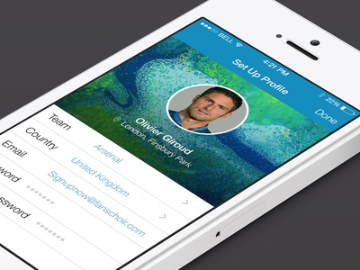 Twitter Sign Up flow sign up twitter football fanschoir arsenal mobile ios 7 flat profile
