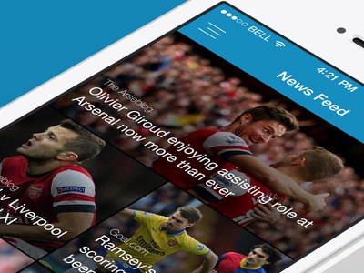Full sign up flow & newsfeed mobile ui fans newsfeed football arsenal gooners winning streak
