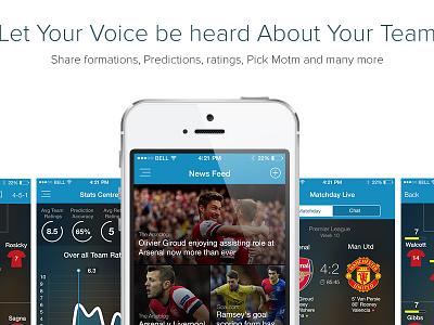 Fans choir website  fanschoir website flat ui designs photoshop football football app