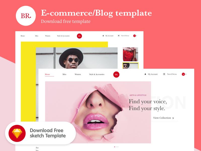 FREE: E-Commerce/Blog template marketing photoshop sketch design beautiful unsplash colorful colourful blog e-commerce template free