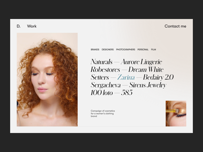 Fashion Model Portfolio — Work homepage fashion app web design portfolio model woman curly fashion design web ux ui clean minimal