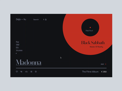 Vinyl Store Deja—Vu black sabbath pink floyd preference selection serach sound productdesign vinyl vynil madonna music clean ux ui minimal ecommerce