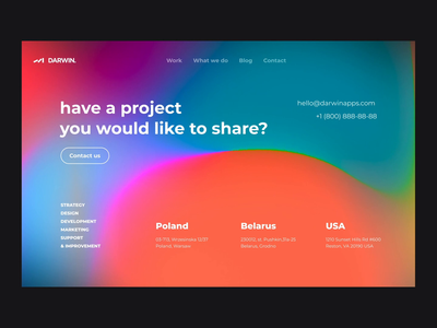 Darwin — Contact Us contact us smooth hologram agancy color gradient productdesign background ux ui clean minimal