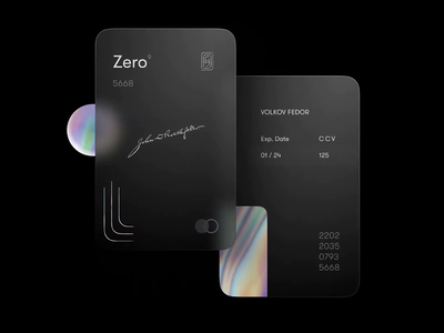 Сredit Сard — UI challenge zero zerobank animated interaction animation glass glassmorphism businesscard business luxury black hologram holo branding credit bank creditcard clean minimal