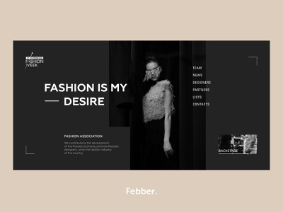 Fashion Week Russia — Fashion Is My Desire concept fashion gray homepage design ux ui clean web minimal