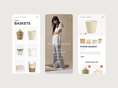 Zara Home — Mobile App product design shop card item e-comerce clean ui home zara home zara web ux ui store mobile minimal begie color clean app