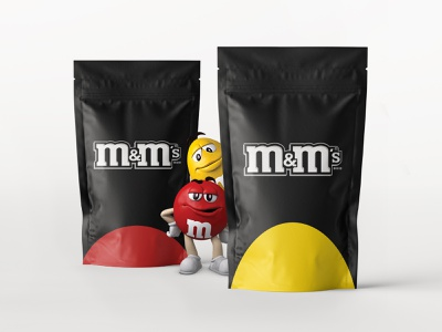 M&M's — New Packaging mms minimal packaging black yellow red candy weekly warm-up weekly challenge rebranding branding