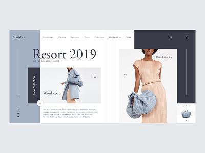 Max Mara — Resort 2019 Collection website gray grid layout max mara store minimal ecommerce fashion models design ux clean ui web clean woman wear blue