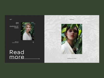 VOGUE — Garden Of Eden woman white uiux ui tropical olive minimal green homepage girl vogue fashion model clean product design