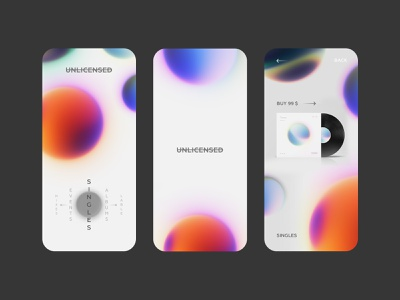 Unlicensed Album — Mobile store interactive mesh app mobile store gray white ux ui clean minimal