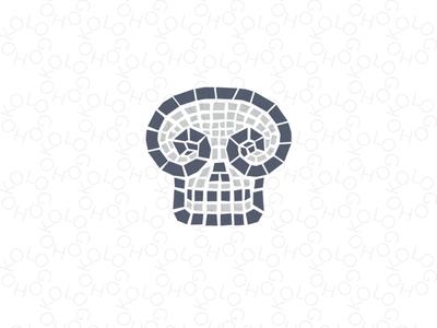 Skull mosaic logo