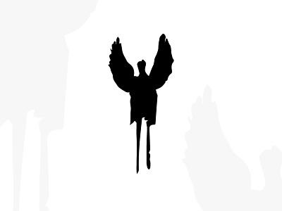 Fallen Angel Logo logotype fallen woman tattoo art archangel wing cinema horror fantasy logos for sale sales sale logos logo human wings man angel