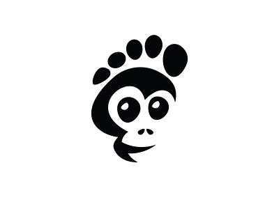 Foot Monkey Logo illustration design footprint head skull buy sales sale for sale logos logo animals animal monkey foot