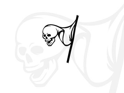Skull Flag logo (for sale) pirates halloween horror bow logotype design for sale buy sales sale logos logo head skeleton pirate flags flag skulls skull