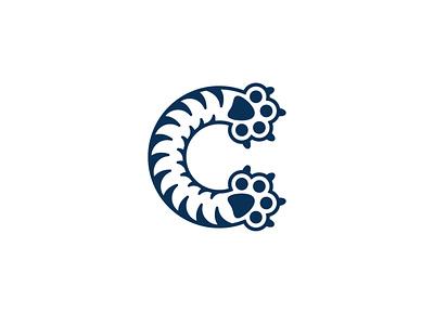 Cat Paw Letter C Logo logotype for sale sales sale logos logo animals pets pet animal tiger paw cats cat