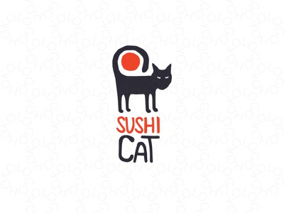Sushi cat logo unique logo sale logos japanese japanese food logo logos logos for sale sushi cat animal food cat logo sushi logo sushi cat