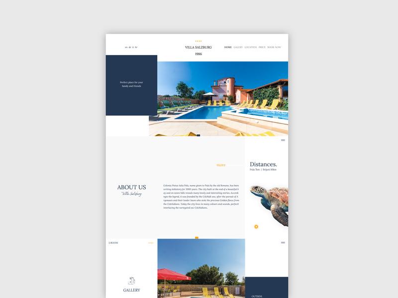 Villa Salzburg bold color villa apartment sketch blue typography web ux ui minimal clean design