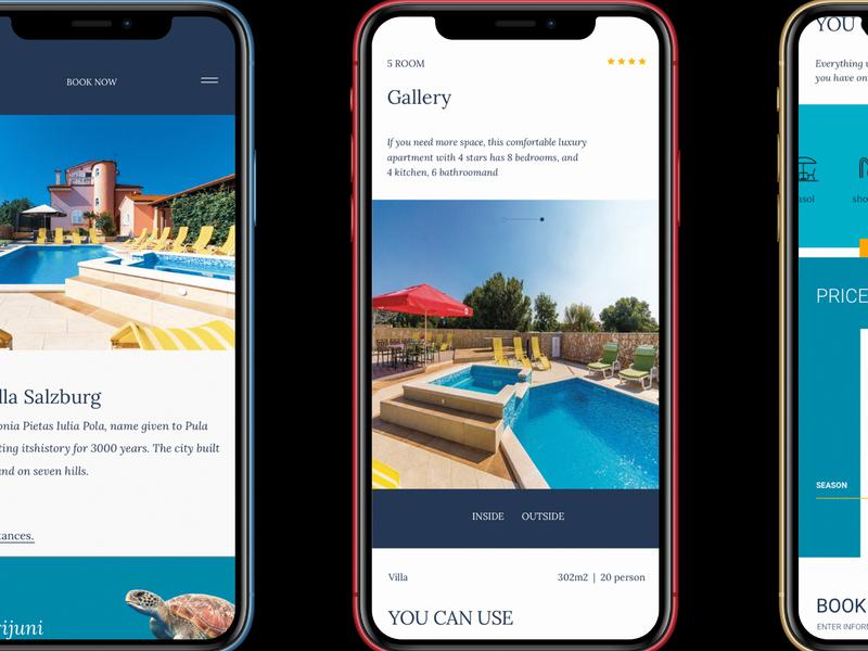 Villa Salzburg / mobile grid iphon bold color apartment typography sketch blue ux ui minimal clean design