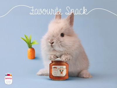 Favourite Snack blue orange jar typography design jamaica bunny carrot