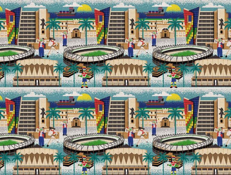 Barranquilla City Pattern vector city illustration cities city barranquilla colorful patterns textile color pattern illustration