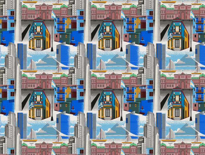 Buenos Aires City Pattern surface city illustration city vector surface pattern colorful patterns textile color pattern illustration