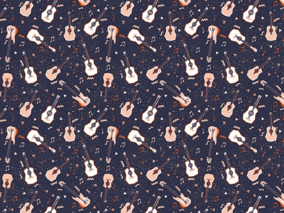 Guitars pattern for download fun surface pattern design vector colorful patterns textile color pattern illustration