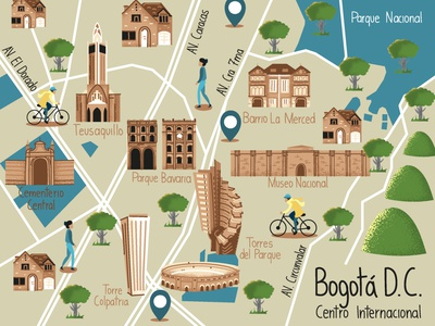 Bogotá Downtown Illustrated Map downtown bogota vector illustration illustrated map map