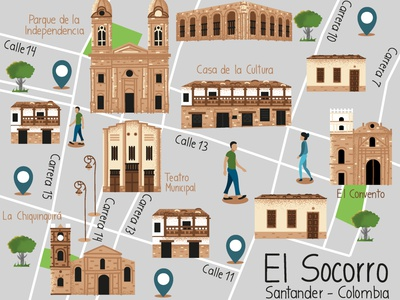 El Socorro Illustrated Map design vector color illustration illustrator illustrated map map