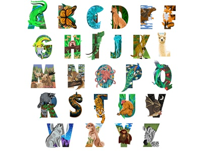 Illustrated Alphabet Animals animals illustrated animals illustrator illustration illustration art illustrated type typogaphy alphabet typography alphabet design alphabet