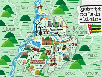 Illustrated Map of Santander - Colombia colombian illustration vector bucaramanga santander colombia maps illustrated map map