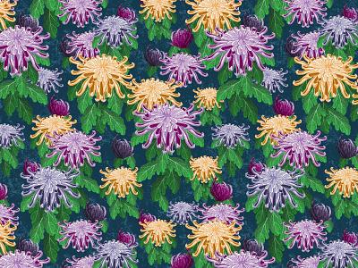 Chrysanthemum Pattern brush floral design floral pattern florals floral illustration pattern art pattern