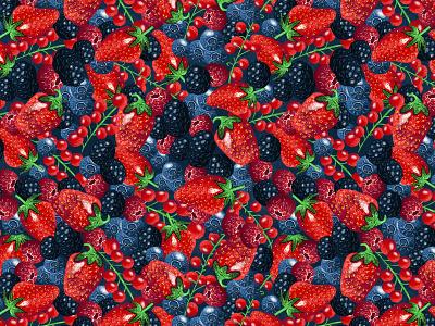 Red Fruits Illustrated Pattern surface pattern textile illustrator fruits pattern fruits berries illustration pattern art photoshop illustrated pattern pattern