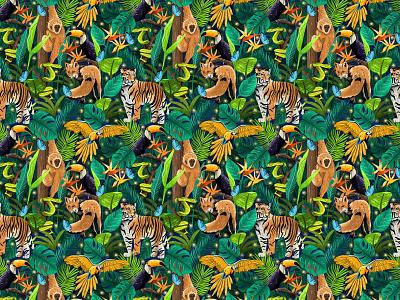 Jungle Pattern illustrated pattern surface pattern colorful patterns textile pattern color jungle book illustration jungle