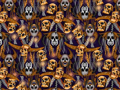 Skull Patern naga skull art skull illustration patterns colorful textile pattern