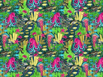 Undersea Neon Pattern undersea sea surface pattern patterns colorful textile pattern color illustration