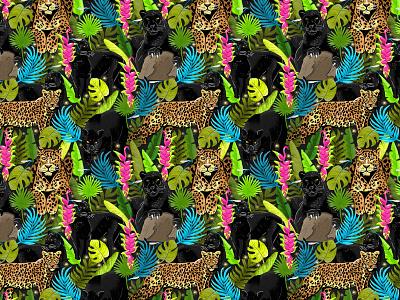 Wild cats pattern surface pattern patterns color textile illustration pattern illustration agency panther leopard