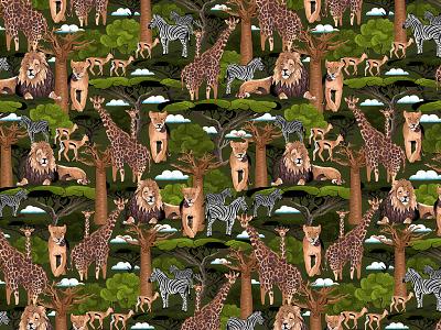 African Savannah Pattern repeated pattern pattern animals illustrated animals african animals africa