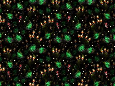 Fluorescent Mushrooms Pattern surface pattern colorful textile pattern fluorescent mushrooms