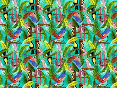 Tropical Birds Pattern textile art textile pattern tropical animals birds