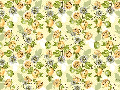 Passion fruit pattern fruit illustration fruit vector surface pattern patterns colorful textile color pattern illustration