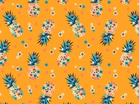 Pineapples and flowers pattern