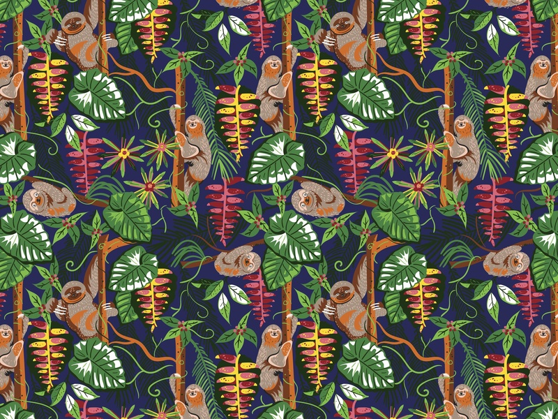 Sloth pattern animal surface flower fun surface pattern design colorful vector patterns textile color pattern illustration