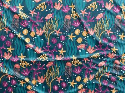 Deep sea pattern fun surface pattern design vector colorful patterns textile color pattern illustration