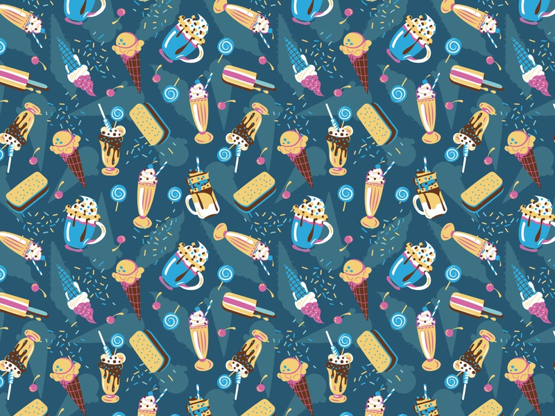 Milkshake and icecream pattern surface design milkshake icecream vector colorful patterns textile color pattern illustration