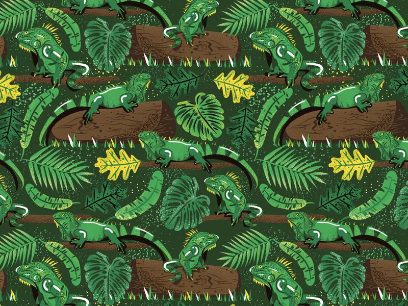 Green Iguana pattern animal iguana surface pattern vector colorful patterns textile color pattern illustration