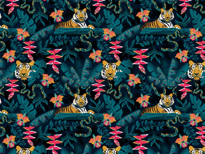 Jungle pattern surface surface pattern design vector colorful patterns textile color pattern illustration