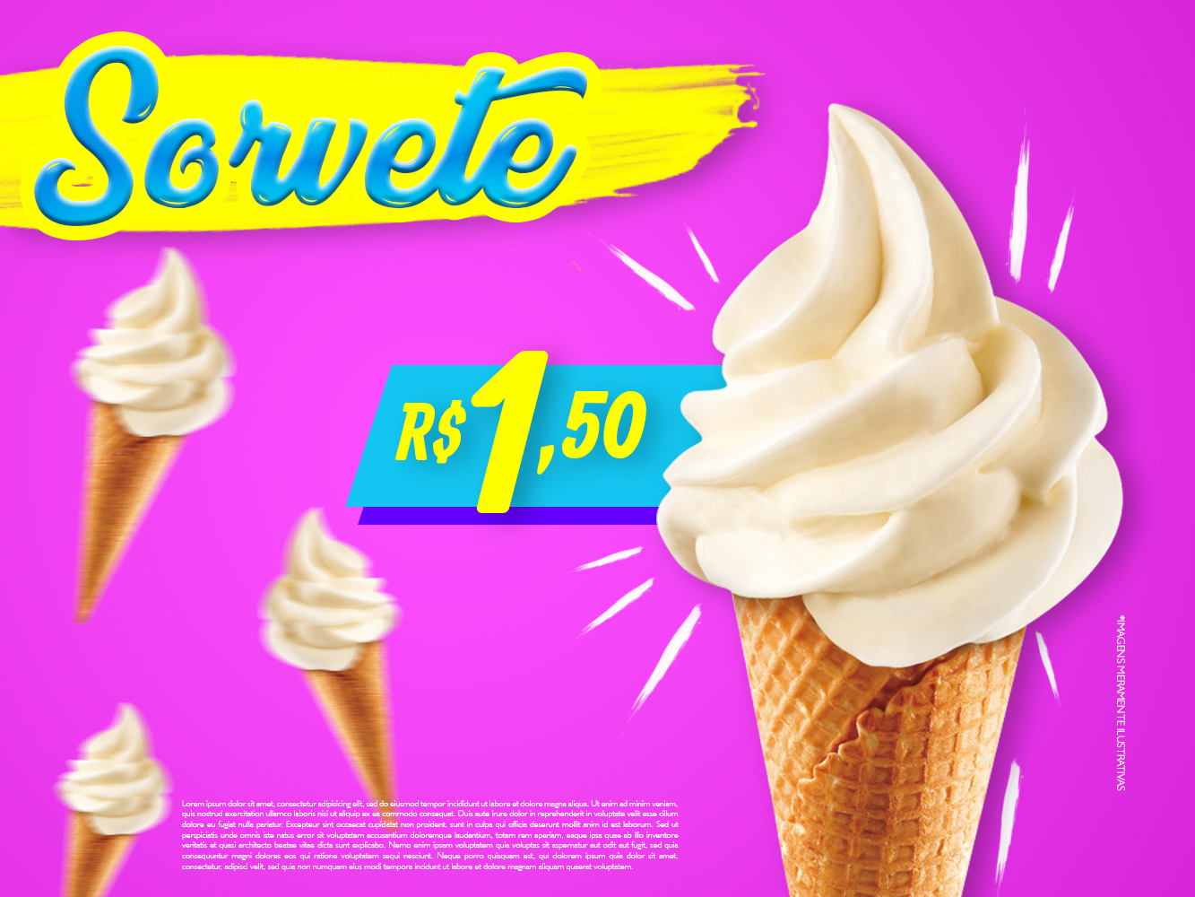 Sorvete Postagem post ice cream cone web social design marketing